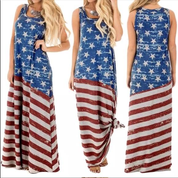 35ebbe8e7547 SMALL ONLY Patriotic sleeveless maxi dress